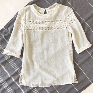 Zara 3/4 Sleeve Ivory Crochet Top